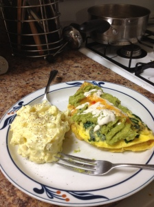 Yes, that's ranch dressing on top of the guacamole on top of my three-egg omelette stuffed with cheese.