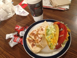 Taco bell ultimate recovery meal.