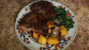 EB steak greens and squash