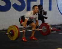 Alan (-69kg) pulling 110kg at the 2013 Old Dominion Classic. He went on to make the jerk for a 195kg Total.