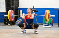 Jessica Salvaggio (-58k, USA) cleaning 105kg at the Olympic Training Center last summer.