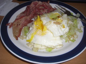 EB cabbage, eggs, beef bacon