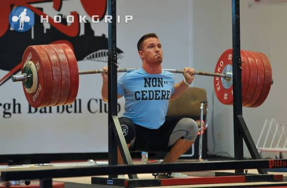Mike Cerbus (-77kg) with a triple bodyweight squat