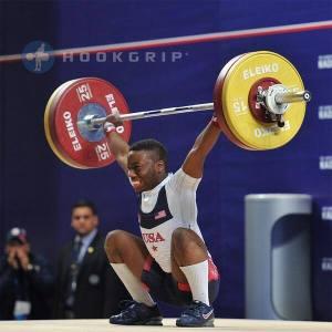 Darren Barnes (-56kg) with a 111kg American Record snatch .
