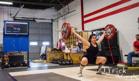 Elizabeth (-69kg) snatching 70kg at the 2014 Cap City Open