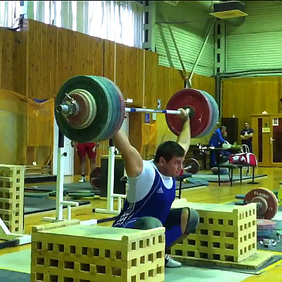 Alexey Lovchev 200kg snatch x2 off blocks