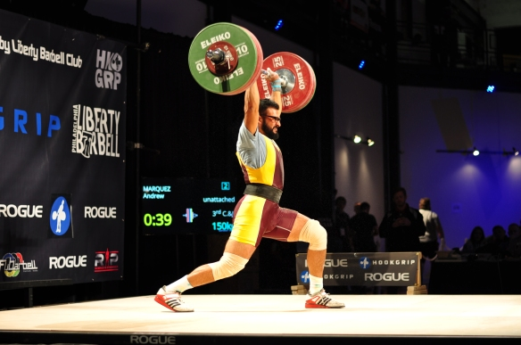 Andrew Marquez (85kg) with 150kg clean and jerk