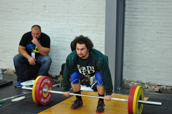 Norik Vardanian (94kg) warming up at the Hookgrip Spartakiad competition.