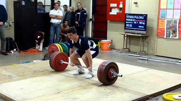 Hysen Pulaku (77kg) clean and jerking 180kg as a junior.